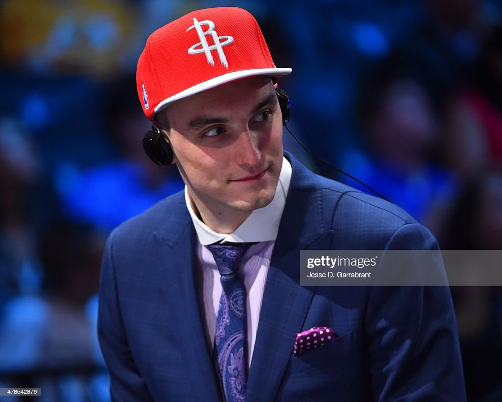 <a gi-track='captionPersonalityLinkClicked' href=/galleries/search?phrase=Sam+Dekker&family=editorial&specificpeople=7887140 ng-click='$event.stopPropagation()'>Sam Dekker</a> the 18th pick overall in the 2015 NBA Draft by the Houston Rockets speaks to the media during the 2015 NBA Draft at the Barclays Center on June 25, 2015 in the Brooklyn borough of New York City.