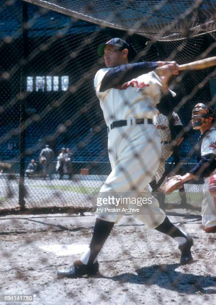 Sam Dente of the Cleveland Indians hits in the batting cage before an MLB game against the Chicago White Sox on May 26 1955 at Cleveland Municipal...