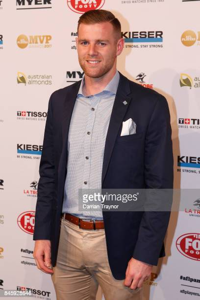 Sam Docherty arrives ahead of the AFL Players' MVP Awards at Shed 14 Central Pier on September 12 2017 in Melbourne Australia