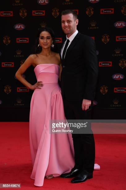 Sam Docherty of the Blues and Natalie Cini arrive ahead of the 2017 Brownlow Medal at Crown Entertainment Complex on September 25 2017 in Melbourne...