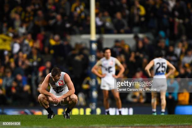 Sam Docherty of the Blues is dejected with the loss on the final siren during the 2017 AFL round 21 match between the West Coast Eagles and the...