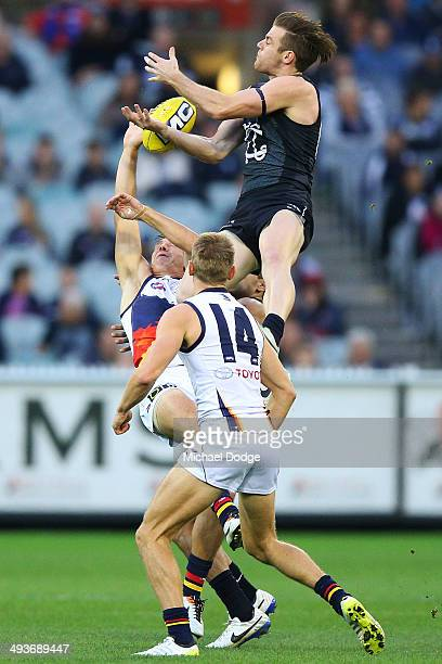 Sam Docherty of the Blues leaps for the ball during the round 10 AFL match between the Carlton Blues and the Adelaide Crows at Melbourne Cricket...