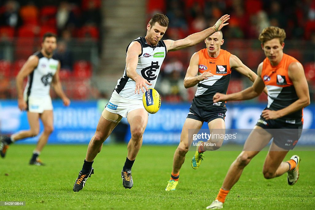 Sam Doherty of Carlton in action during the round 14 AFL match between the Greater Western Sydney Giants and the Carlton Blues at Spotless Stadium on June 25, 2016 in Sydney, Australia.