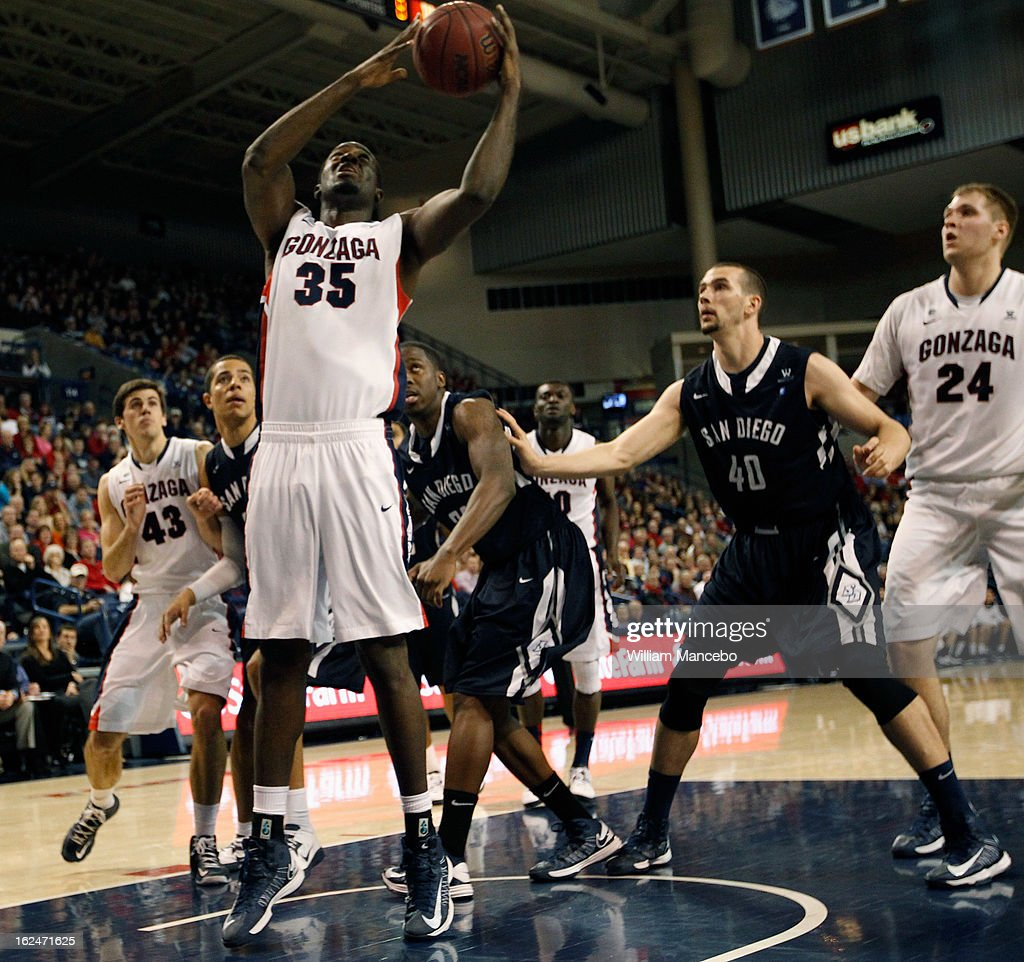 Sam Dower #35 of the Gonzaga Bulldogs plays against the San Diego Toreros during the second half of the game at McCarthey Athletic Center on February 23, 2013 in Spokane, Washington.