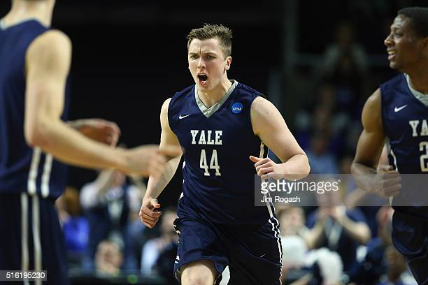 Sam Downey of the Yale Bulldogs reacts in the second half against the Baylor Bears during the first round of the 2016 NCAA Men's Basketball...
