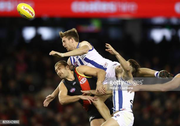 Sam Durdin of the Kangaroos leaps for the ball during the round 18 AFL match between the Essendon Bombers and the North Melbourne Kangaroos at Etihad...