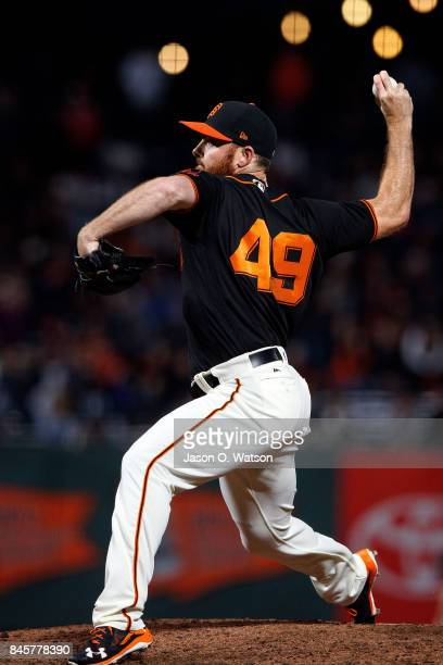 Sam Dyson of the San Francisco Giants pitches against the Arizona Diamondbacks during the ninth inning at ATT Park on August 5 2017 in San Francisco...