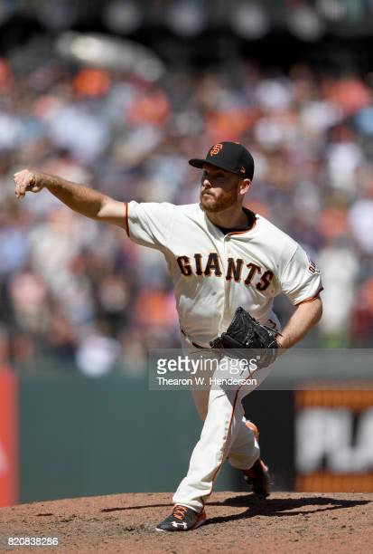 Sam Dyson of the San Francisco Giants pitches against the Cleveland Indians in the top of the ninth inning at ATT Park on July 19 2017 in San...