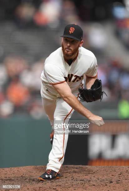 Sam Dyson of the San Francisco Giants pitches against the Colorado Rockies in the top of the ninth inning at ATT Park on September 20 2017 in San...