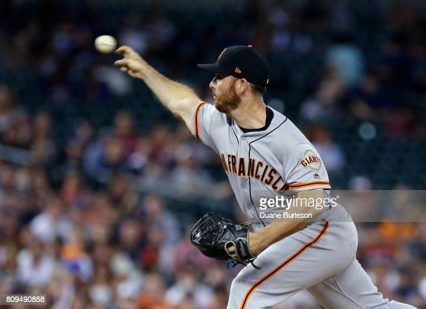 Sam Dyson of the San Francisco Giants pitches against the Detroit Tigers during the ninth inning at Comerica Park on July 5 2017 in Detroit Michigan...