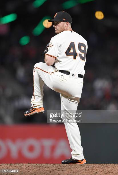 Sam Dyson of the San Francisco Giants pitches against the Kansas City Royals in the top of the ninth inning at ATT Park on June 13 2017 in San...