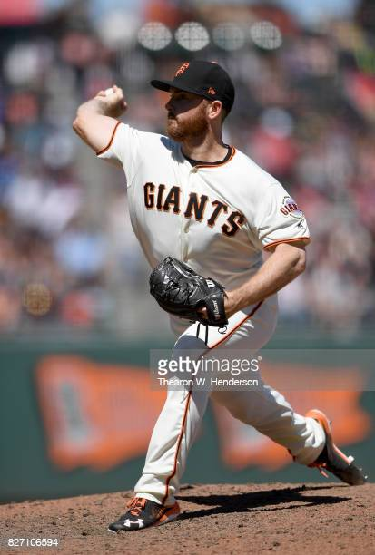 Sam Dyson of the San Francisco Giants pitches against the Pittsburgh Pirates in the top of the ninth inning at ATT Park on July 26 2017 in San...