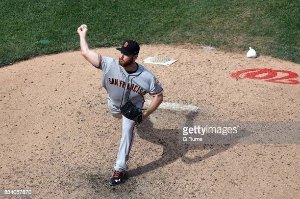 Sam Dyson of the San Francisco Giants pitches against the Washington Nationals during Game 1 of a doubleheader at Nationals Park on August 13 2017 in...
