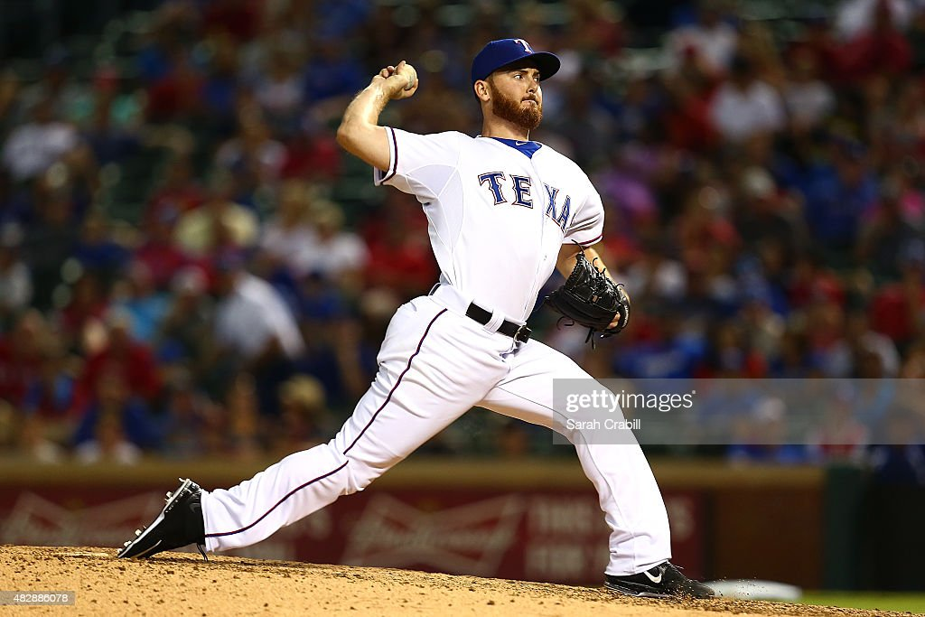 Sam Dyson #47 of the Texas Rangers pitches during a game against the Houston Astros at Globe Life Park in Arlington on August 3, 2015 in Arlington, Texas. The Texas Rangers defeated the Houston Astros 12-9.