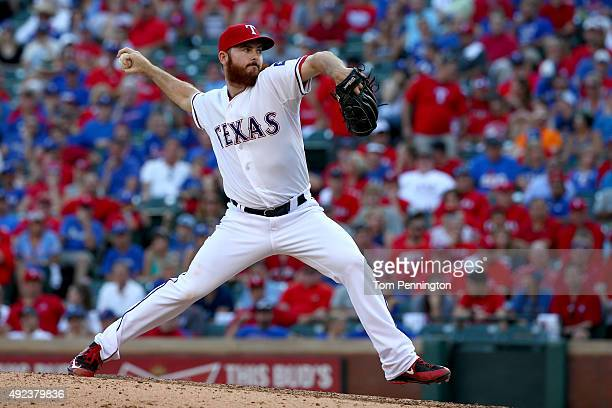 Sam Dyson of the Texas Rangers pitches in the eighth inning against the Toronto Blue Jays in game four of the American League Division Series at...