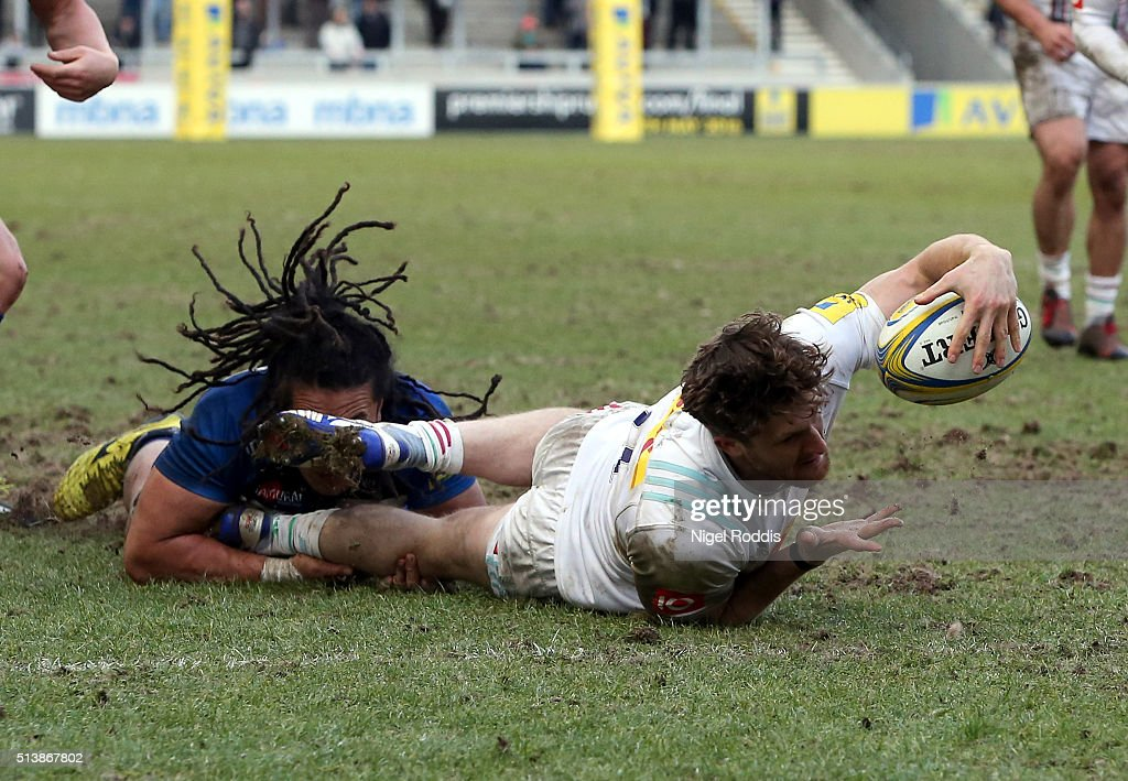 Sam Egerton of Harlequins scores a try during the Aviva Premiership match between Sale Sharks and Harlequins at the AJ Bell Stadium in Salford England