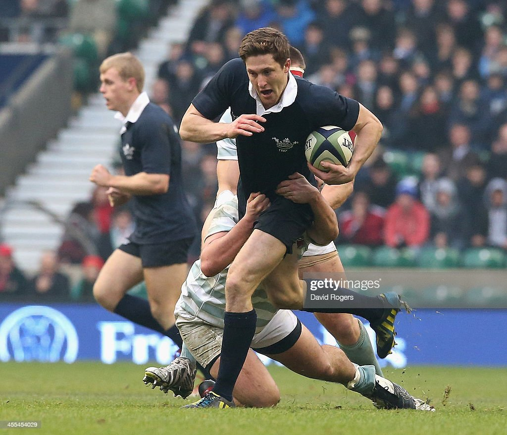 Sam Egerton of Oxford charges upfield during the Varisty match between Oxford University and Cambridge University at Twickenham Stadium on December...