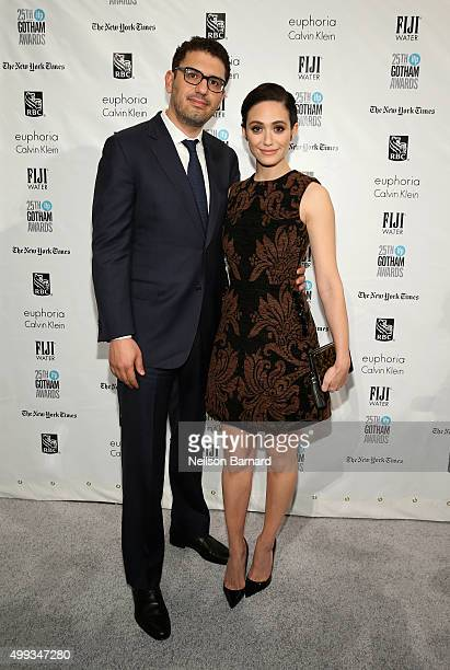 Sam Esmail and Emmy Rossum attend the 25th IFP Gotham Independent Film Awards cosponsored by FIJI Water at Cipriani Wall Street on November 30 2015...