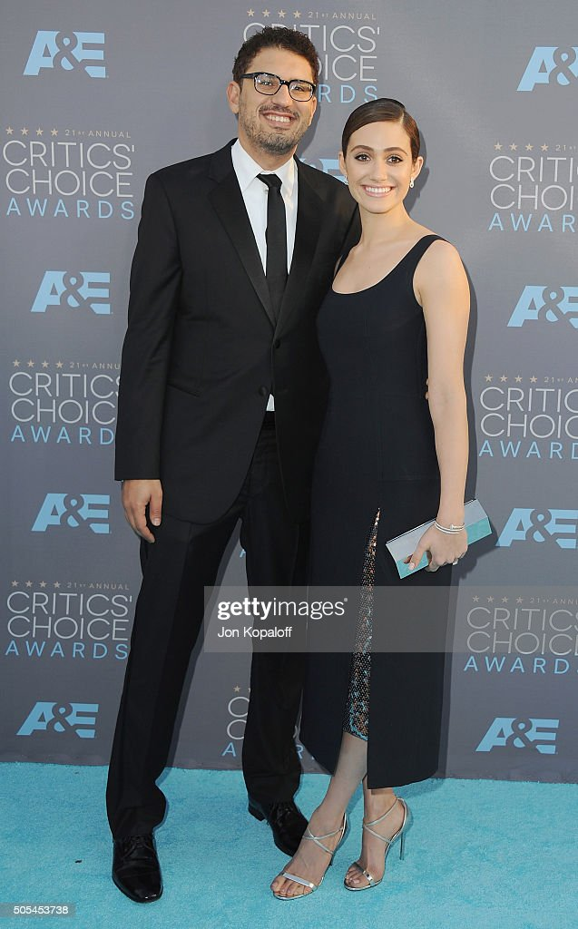 Sam Esmail and fiance Emmy Rossum arrive at The 21st Annual Critics' Choice Awards at Barker Hangar on January 17, 2016 in Santa Monica, California.