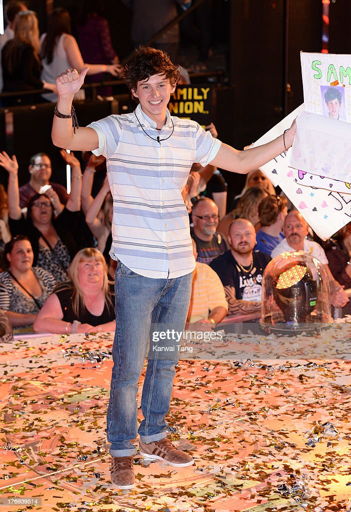 Sam Evans celebrates after winning 'Big Brother 14' at Elstree Studios on August 19, 2013 in Borehamwood, England.