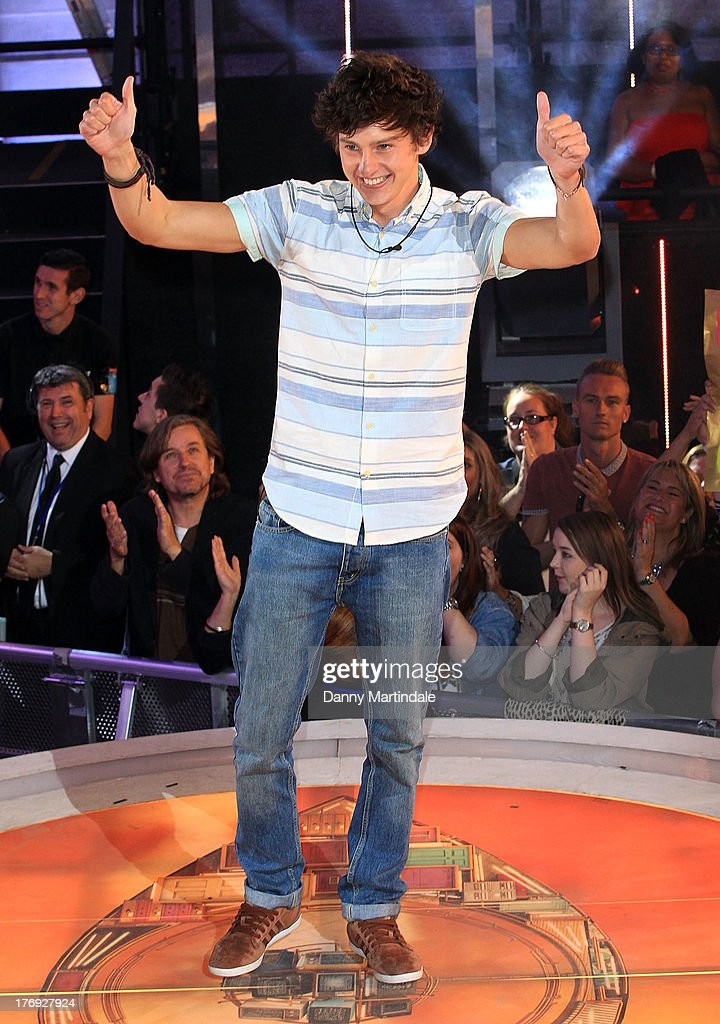 Sam Evans gestures as he greets fans after winning Big Brother during the final at Elstree Studios on August 19, 2013 in Borehamwood, England.