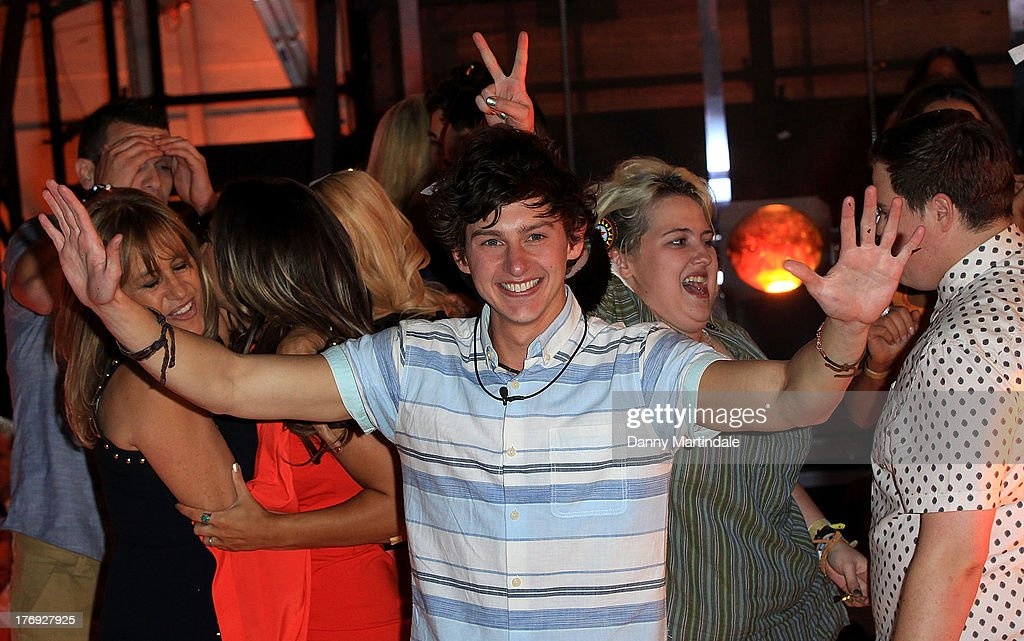 Sam Evans greets fans after winning Big Brother during the final at Elstree Studios on August 19, 2013 in Borehamwood, England.