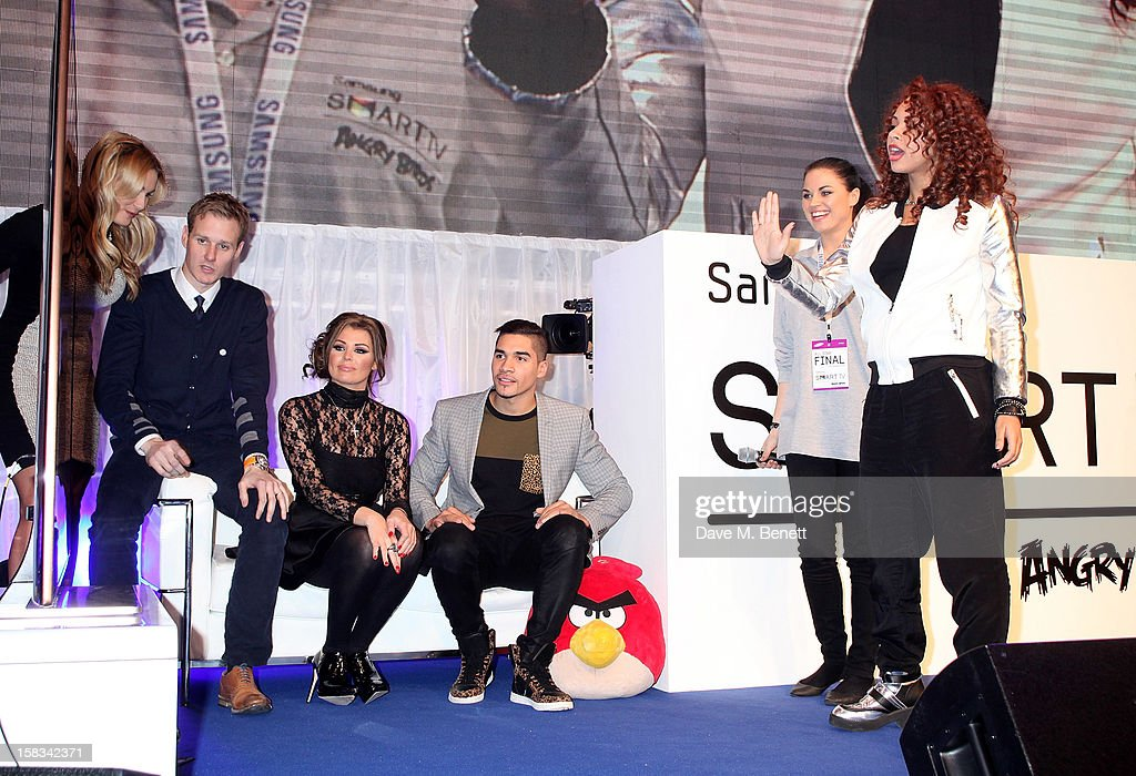 Sam Faiers, Dan Walker, Jessica Wright and Louis Smith watch Alexis Jordan play at the Samsung Smart TV Angry Birds Party at Westfield Stratford City on December 13, 2012 in London, England.