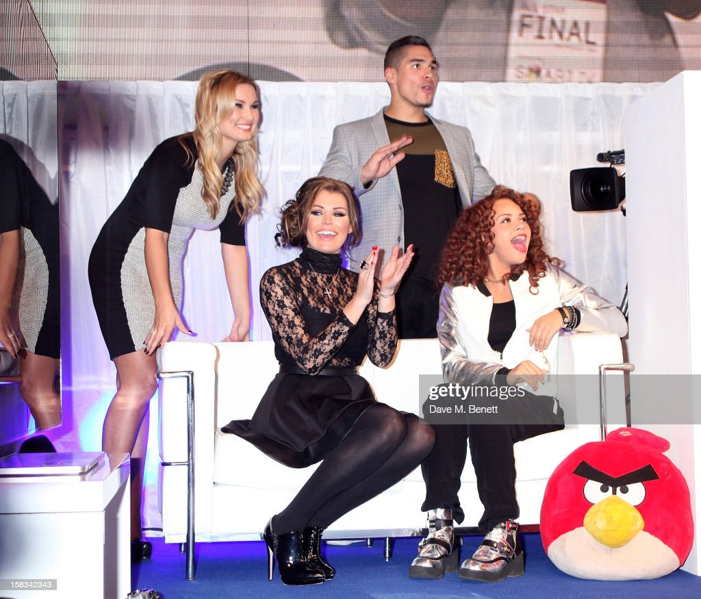 Sam Faiers, Jessica Wright, Louis Smith and Alexis Jordan attend the Samsung Smart TV Angry Birds Party at Westfield Stratford City on December 13, 2012 in London, England.