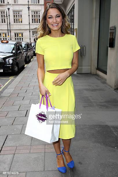 Sam Faiers outside the May Fair Hotel where she is announced as the Brand Ambassador for Fake Bake's Beyond Bronze on April 2 2014 in London England
