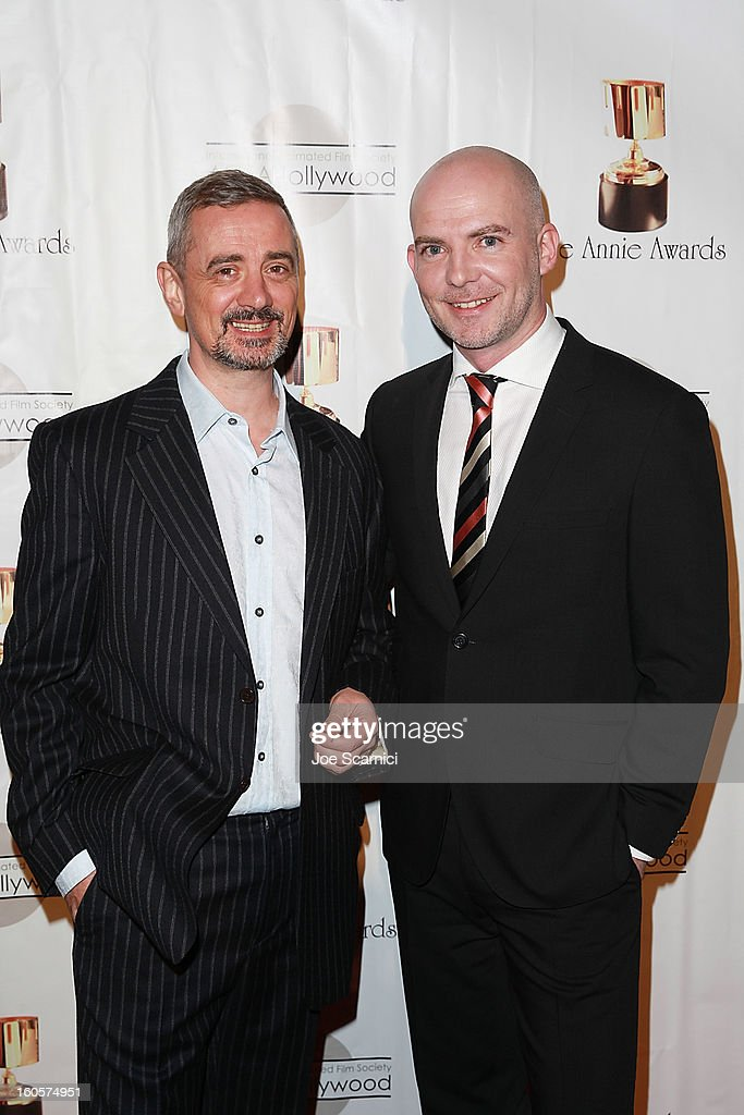 Sam Fell and Chris Butler arrive at the 40th Annual Annie Awards at Royce Hall on the UCLA Campus on February 2, 2013 in Westwood, California.