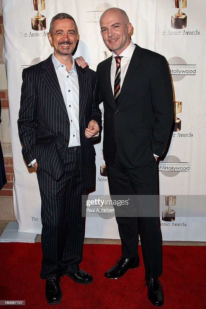 Sam Fell (L) and Chris Butler arrive at the 40th Annual Annie Awards held at Royce Hall on the UCLA Campus on February 2, 2013 in Westwood, California.