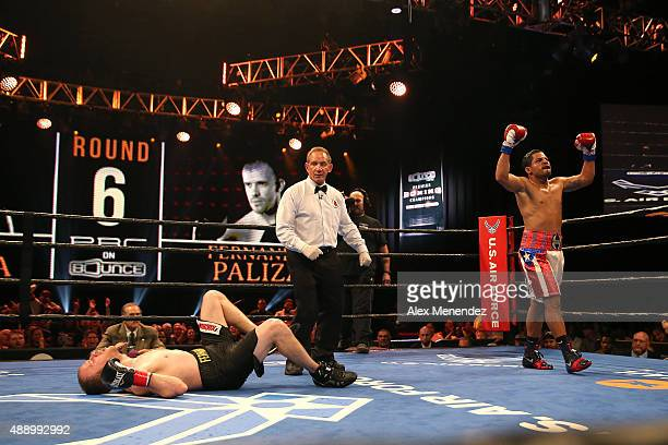 Sam Figueroa knocks down Fernando Paliza for a second time during the Premier Boxing Champions on Bounce TV boxing match at Full Sail University Ebbs...