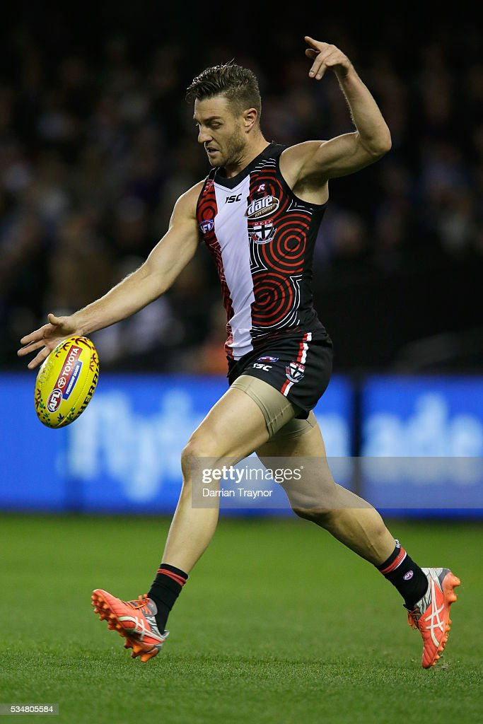 Sam Fisher of the Saints kicks the ball during the round 10 AFL match between the St Kilda Saints and the Fremantle Dockers at Etihad Stadium on May 28, 2016 in Melbourne, Australia.