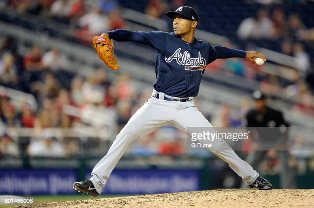 Sam Freeman of the Atlanta Braves pitches against the Washington Nationals at Nationals Park on June 12 2017 in Washington DC