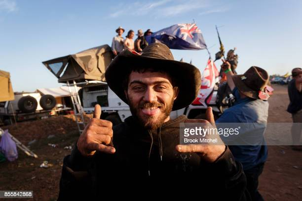 Sam from the Northern beaches of Sydney enjoys the final evening of the 2017 Deni Ute Muster on September 30 2017 in Deniliquin Australia The annual...