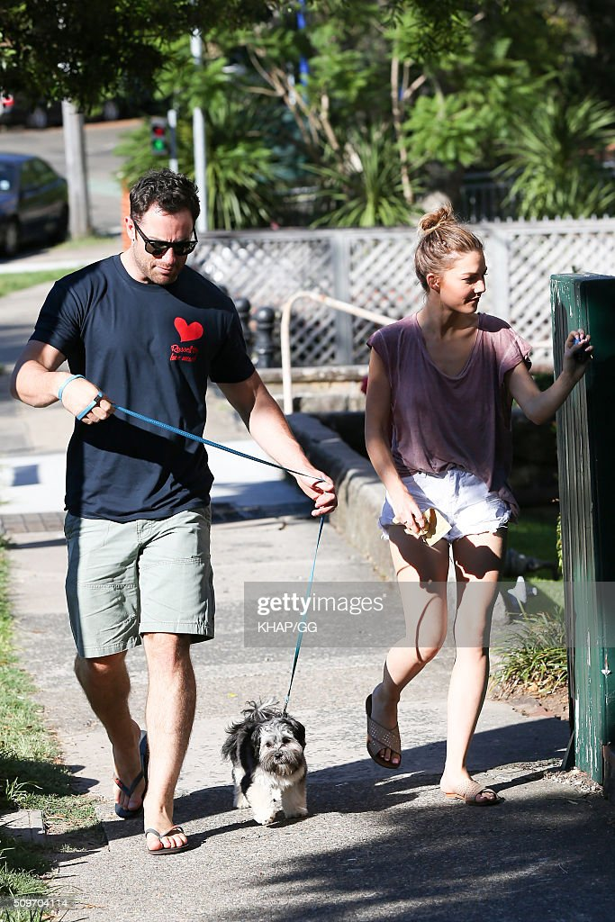 <a gi-track='captionPersonalityLinkClicked' href=/galleries/search?phrase=Sam+Frost+-+Reality+TV+Star&family=editorial&specificpeople=15103431 ng-click='$event.stopPropagation()'>Sam Frost</a> and boyfriend Sasha Mielczarek walk the dog on February 12, 2016 in Sydney, Australia.