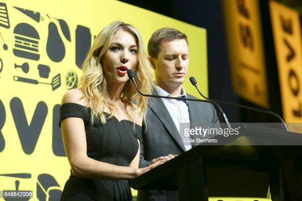 Sam Frost and Rove McManus host the OzHarvest CEO Cookoff on March 6 2017 in Sydney Australia The event sees CEOs paired with chefs from Australia's...