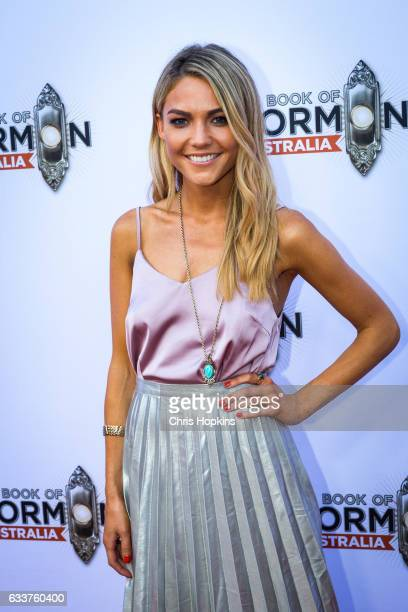 Sam Frost arrives ahead of The Book of Mormon opening night at Princess Theatre on February 4 2017 in Melbourne Australia