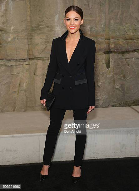 Sam Frost arrives ahead of the Myer AW16 Fashion Launch at Barangaroo Reserve on February 11 2016 in Sydney Australia
