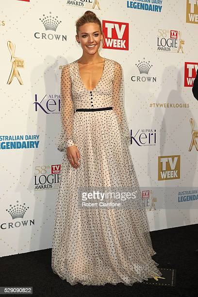 Sam Frost arrives at the 58th Annual Logie Awards at Crown Palladium on May 8 2016 in Melbourne Australia