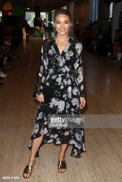 Sam Frost attends the Ginger Smart show at MercedesBenz Fashion Week Resort 18 Collections at Art Gallery of New South Wales on May 17 2017 in Sydney...