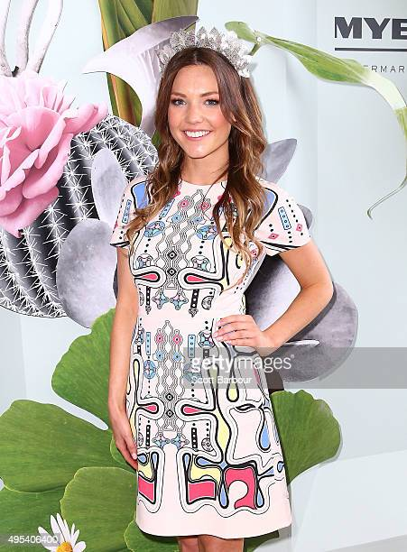 Sam Frost from The Bachelorette Australia finale poses at the Myer Marquee on Melbourne Cup Day at Flemington Racecourse on November 3 2015 in...