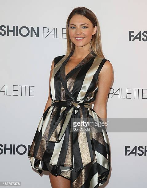 Sam Frost poses at the ART of Fashion designer catwalk showcase at the Art Gallery Of NSW on March 10 2015 in Sydney Australia