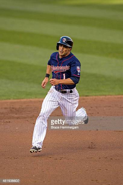 Sam Fuld of the Minnesota Twins against the New York Yankees on July 3 2014 at Target Field in Minneapolis Minnesota The Yankees defeated the Twins 74