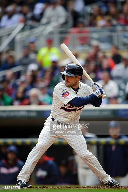 Sam Fuld of the Minnesota Twins bats against the Detroit Tigers during the game on April 26 2014 at Target Field in Minneapolis Minnesota The Twins...