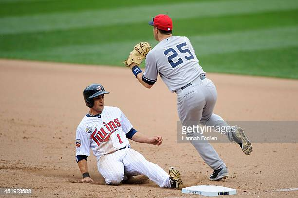 Sam Fuld of the Minnesota Twins slides back to first base safely as Mark Teixeira of the New York Yankees fields the ball during the game on July 4...
