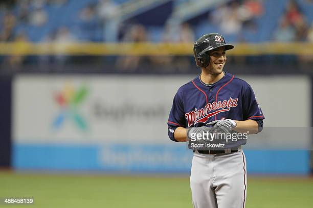Sam Fuld of the Minnesota Twins smiles after getting on base against the Tampa Bay Rays at Tropicana Field on April 24 2014 in St Petersburg Florida