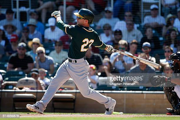 Sam Fuld of the Oakland Athletics bats against the Arizona Diamondbacks during the spring training game at Salt River Fields at Talking Stick on...