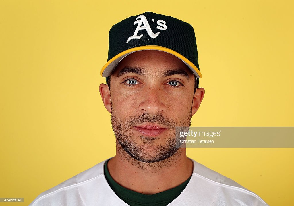 Sam Fuld #29 of the Oakland Athletics poses for a portrait during the spring training photo day at Phoenix Municipal Stadium on February 22, 2014 in Phoenix, Arizona.