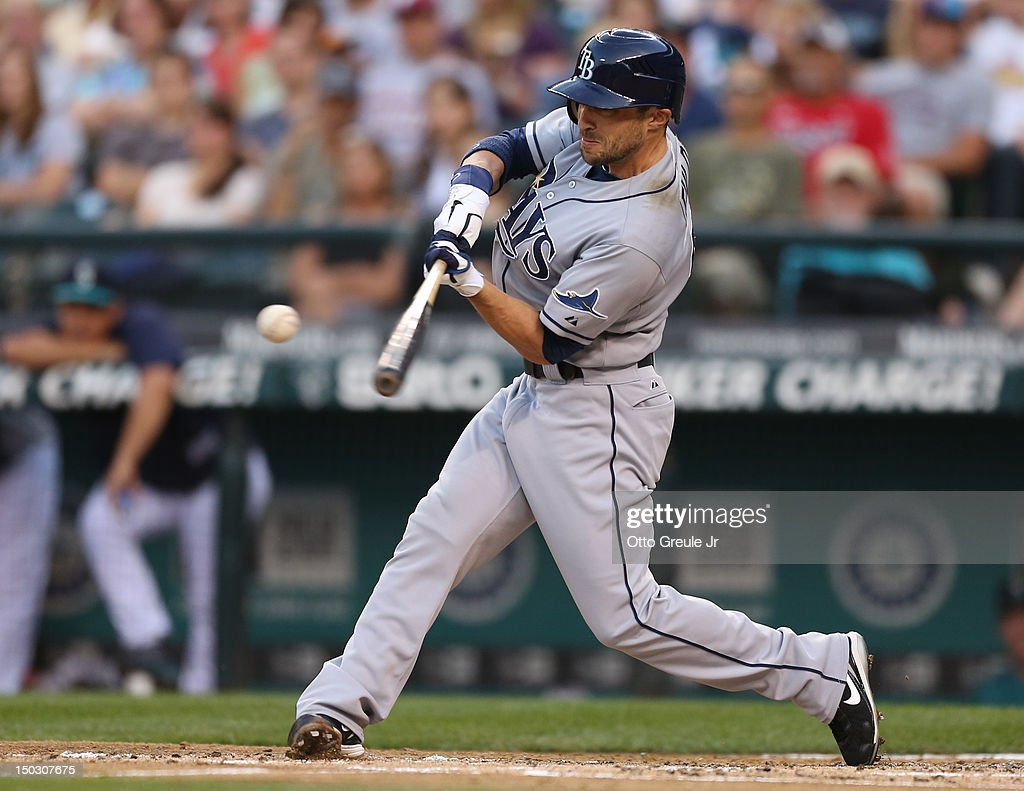 Sam Fuld #5 of the Tampa Bay Rays bats against the Seattle Mariners at Safeco Field on August 13, 2012 in Seattle, Washington.